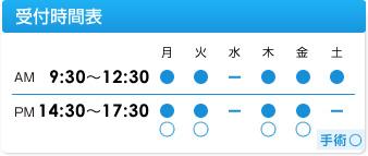 休診日は水曜、土曜午後、日曜祝祭日です。手術は月曜・木曜・金曜に行なっております